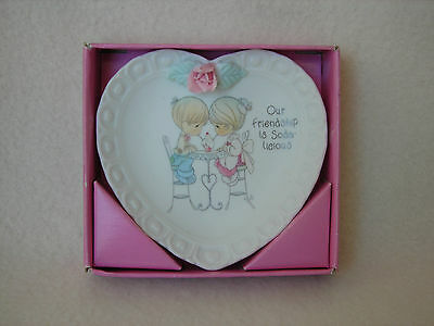 Collectible 1994 Precious Moments Mini Heart Shaped Plate w/Stand & Orig. Box