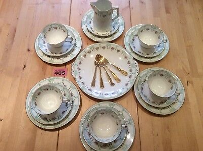 VINTAGE BONE CHINA CROWN REGENT Ditsy Roses & Green Garland 24 PIECE TEA SET