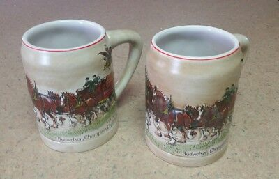 Vintage 1980 Holiday Budweiser Beer Stein Lot of 2, RARE, Collectible