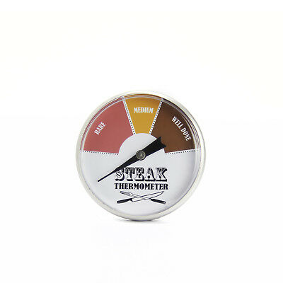 45mm OD Dial Stainless Steel Steak Thermometer Indicates Rare Medium & Well Done