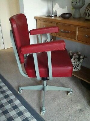 Vintage Industrial Swivel Office Arm Chair Mid Century 50's/60's Red Grey Metal