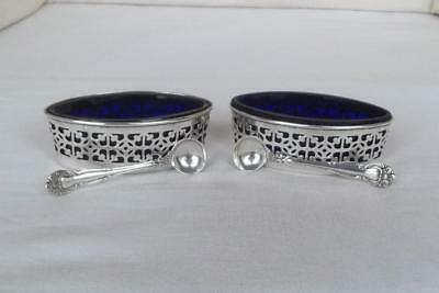 Large Pair American Sterling Silver Pierced Open Salts With Liners & Spoons.