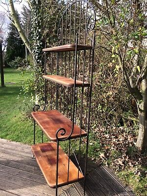 "Stunning vintage wrought iron shelving stand with mahogany shelves 6ft 8"" tall"
