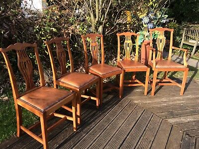 5 vintage hepplewhite style solid wood with leather seats dining chairs,