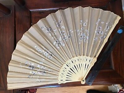 Antique Victorian Hand Fan Carved Spin- Hand Painted & Embroidery Good Condition