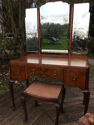 Quality walnut veneer solid wood dressing table with beveled mirrors + stool