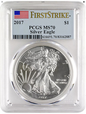 2017 $1 American Silver Eagle PCGS MS70 First Strike - Blue Flag Label