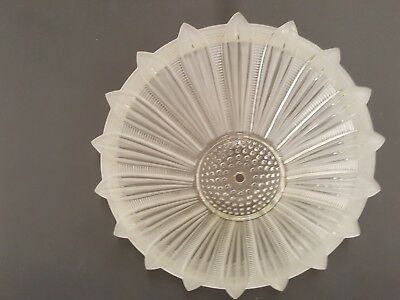 "Vintage Art Deco Frosted Sunflower 14"" Thick Glass Ceiling Light Fixture Shade"