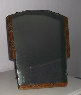 Vintage Edwardian Oak Framed Easel Dressing Table Mirror