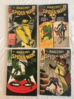 Marvel Amazing Spider-Man Comic Book Lot (4) 30,37,63,67 Silver age