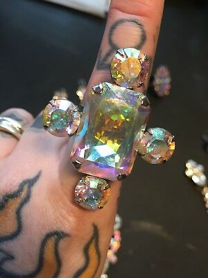 Drag Burlesque Swarovski Crystal AB ring- pageant, prom, glam, sparkle, stage
