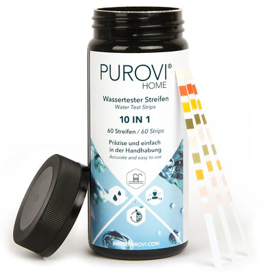 Purovi® Water Test Kit 10 in 1 | 60 Strips to Test Aquarium and Pool Water in Ju