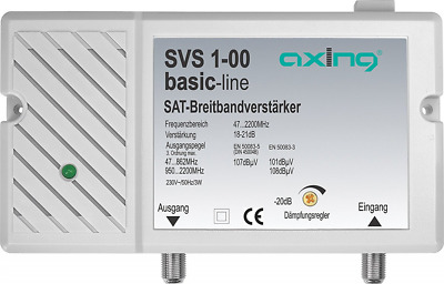 Axing SVS 1-00 Broadband Amplifier 25 dB for Satellite and Terrestrial with inte