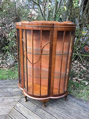 vintage bow fronted glass display cabinet with key, nice classy cabinet