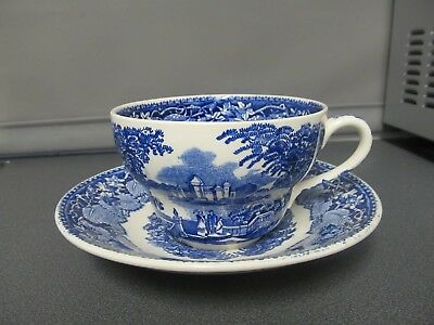 Masons Vista Willow Large Breakfast Cup & Saucer Blue and White Unused