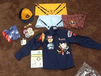 Vintage BSA Cub Scout Uniform Shirt 1980's Patches Badges Pins scarf look