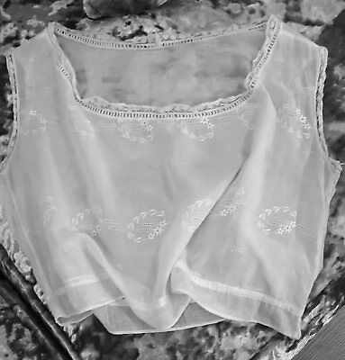 Ladies Antique Vintage Cotton Lace Embroidered Handmade Camisole Top