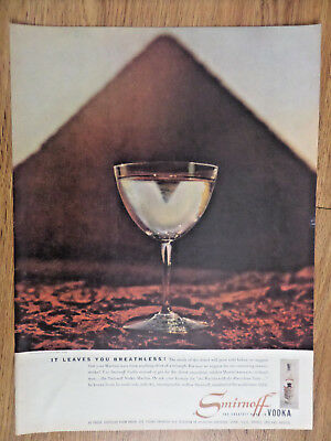1956 Smirnoff Vodka Ad  It Leaves you Breathless Egyptian Pyramid