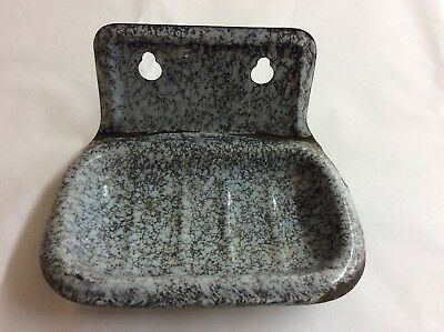 Vintage Gray Granite Speckled Soap Dish Attaches to Wall
