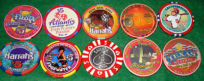 Ten Different $5 Nevada Casino Chips-Some Old, Some New
