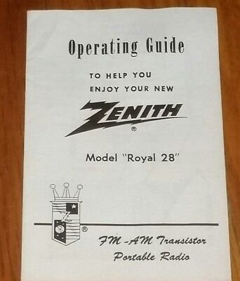Vintage Zenith Royal R28 antique AM/FM 9 transistor radio OPERATION GUIDE MANUAL