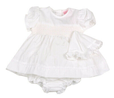 Baby Girl smocked Dress Hat Pant set Spanish style  White floral Newborn-6months