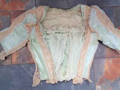 Antique 1900s Victorian Women's Blouse Top Green Blue Silk Lace Bone Insets