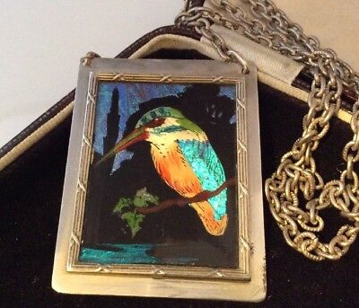 Vintage jewellery Wonderful Large Butterfly Wing KiingFisher Bird Necklace