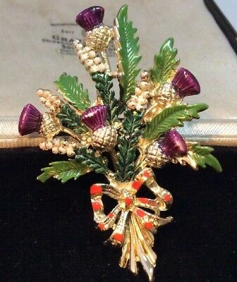 Vintage jewellery Super Signed Exquisite Enamel Heather & Thistle Flowers Brooch