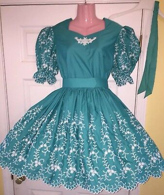 Square Dance Turquoise & White Dress & Man's Tie-Small