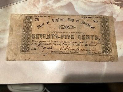 1862 City of Richmond VA 75 Cents Confederate Obsolete Currency STARTS at FACE!