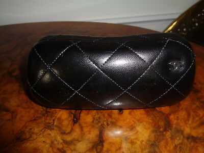 Authentic Chanel Quilted Leather Eyeglass/sunglass Case, Black