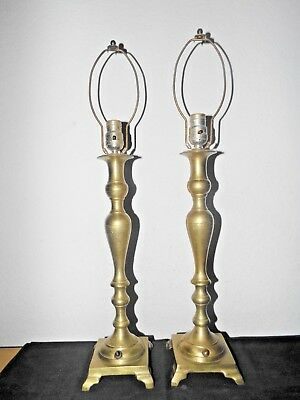 """Lamps A Pair Of 27""""h Beautiful Antique Fancy Solid Brass Candlestick Table Lamps"""
