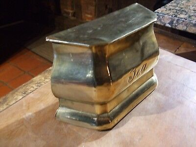 ANTIQUE BRASS TEA CADDY   with REGD NOS SHOWING  1905 manufacture, lovely item