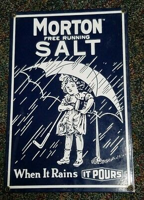Morton salt porcelain sign
