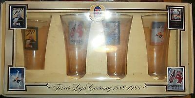 Collectable Box Set 4 Fosters Lager Centenary Glasses 1888-1988