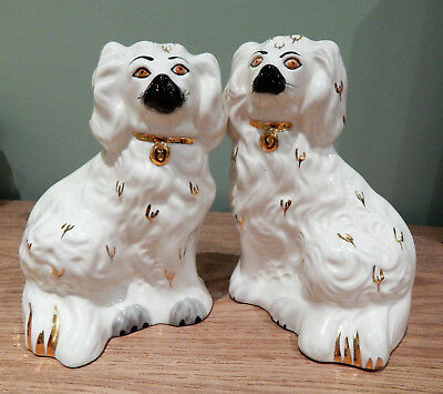 Pair of Lovely, Royal Doulton Porcelain China Staffordhire style Mantle Dogs