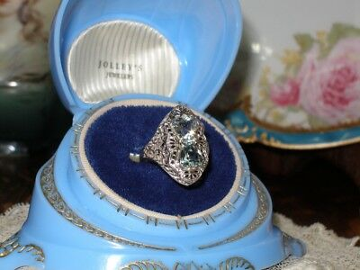 Antique 14K White Gold Filigree Double Aquamarine Ring Rare Art Deco 1920's Wow