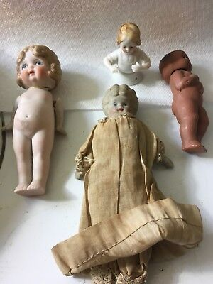 Antique Lot of 4 I-German, 2-Bisque 1-? Small Dolls