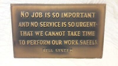 "Vintage Employee ""BELL SYSTEM"" Plaque"