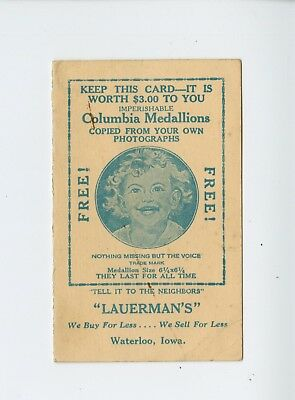 Vintage Columbia Medallions Punch Card from Lauerman's in Waterloo Iowa