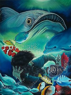 Original Art Painting Oil Canvas JONA & THE WHALE Cuban Art Cuba YOANDRIS PEREZ