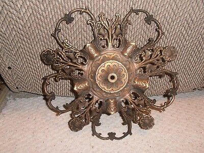 Antique Brass Ornate Architectural Salvage Light Fixture