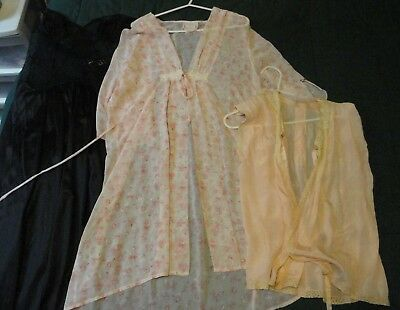 lot of 5 Vintage nightgowns, robes, bed jacket -  medium large