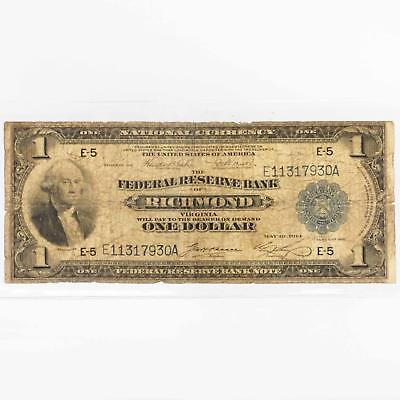 Federal Reserve Bank of Richmond Virginia 1 Dollar National Currency series 1918