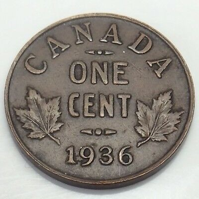 1936 Canada 1 One Cent Penny Canadian Circulated Coin E102