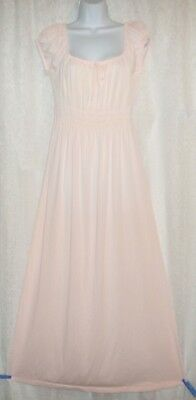 Vtg Pink Gilead Soft Ruched Empire Waist Nylon Nightgown Gown Negligee  M