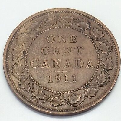1911 Canada 1 One Cent Large Penny Canadian Circulated Coin E104