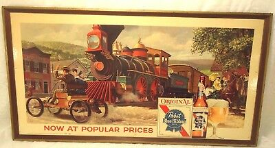 Vintage Pabst Blue Ribbon Lothograph Sign With Steam Locomotive/ Train Horse