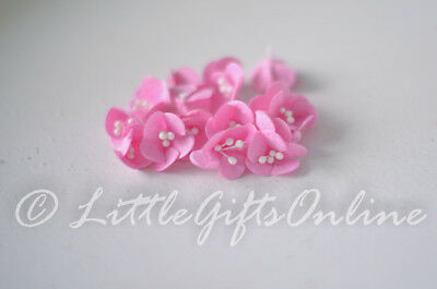 20 x Paper Flower Head ~20 mm NEW Craft Scrapbook, Pink Cherry Blossom Embellish